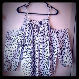 XL Cheetah Print Cold Shoulder